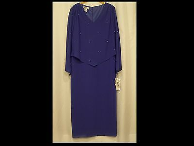 NEW gown Periwinkle blue violet with blue pearls Mother of Bride formal Size 16P