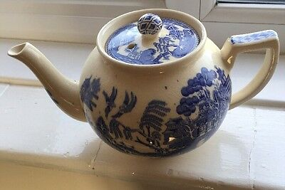 Vintage Early Arthur Wood Old Willow Blue Transfer Teapot