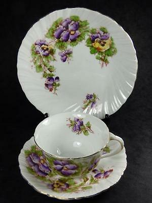 PANSIES Vintage China TEA TRIO, Purple & Yellow, Scalloped, Gilded, vgc