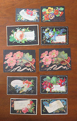 C3130 10 Victorian Greetings Cards: Black Backgrounds