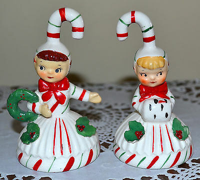 2 Sweet ~Minty~ Vintage Lefton Candy Cane Figure Bell, Christmas Pixie Children