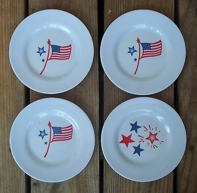 Vintage Patriotic RED WHITE BLUE Plates Set of 4 Flags Stars 6-1/2 Shatter Proof