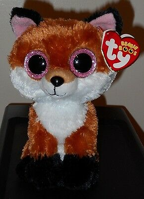 "NM* Ty Beanie Boos ~ SLICK the 6"" Fox ~ NEW Plush Toy ~ NM with MINT TAGS"