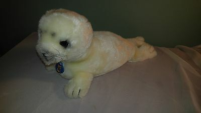 "Dakin Baby Seal White Bean Bag Plush Stuffed Animal Toy 18"" Vintage"