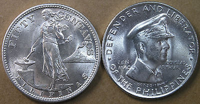 Philippines 50c 1945-S and 1947-S MacArthur Both Ch BU TWO PIECES * AvenueCoin