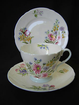 "Shelley China Trio ""wild Flowers"" Pattern 13668 - Cup, Saucer & Side Plate."