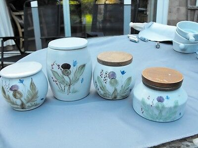 Four hand decorated Buchan Pottery Scotland lidded pots
