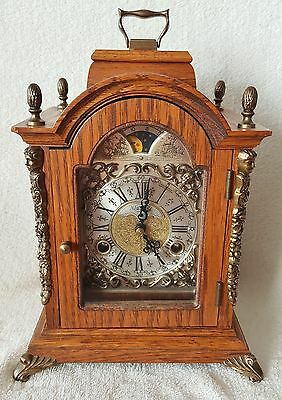 Warmink Bracket Clock Vintage Dutch Oak Wood 8 Day 26cms Rolling Moonphase 70s