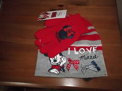 Girls Hat And Gloves Set Minnie Mouse  Nwt