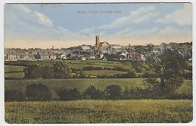 Beith from Station Road, in ~1910-WW1 Vintage Tinted Collotype PPC, G.Used 1916.