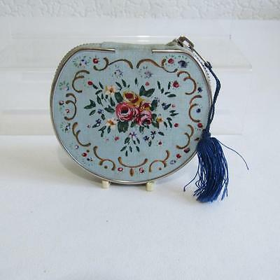 Vintage Pretty Painted Fabric Powder Compact - Unused
