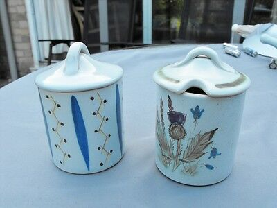 Two hand decorated Buchan Pottery Scotland lidded jam pots