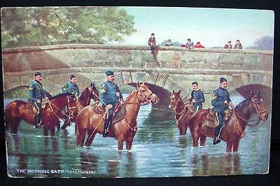 Tuck's Postcard WWI Morning Bath 10th Hussars Military Life Series