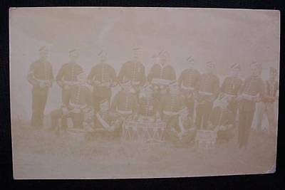 Pre WW1  Photo Postcard Military Soldier in Uniform Marching Band
