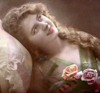 WW1 Postcard 1915 French Beauty Dreaming Photo Canadian Colored