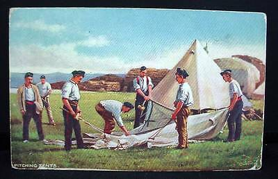 1905 Tuck's Postcard Pre WWI Pitching Tents Military Life Series