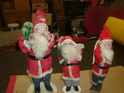 """(3) VINTAGE Santa Clause's, 1930's-1940's, Size 5 1/2"""" to 8"""" Tall, No Reserve"""