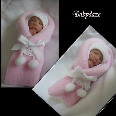 Ooak Unique  Artist Hand Sculpted Tiny Bundle Baby Girl