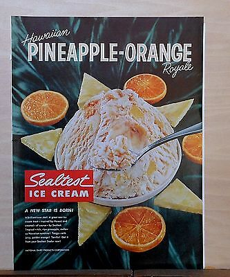 1960 magazine ad for Sealtest Ice Cream - Hawaiian Pineapple Royale, New Star