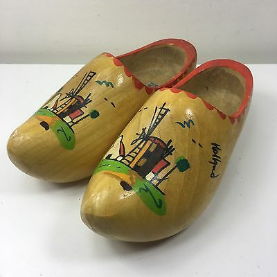 Vintage VZ Wooden Clogs - Hand Painted  WINDMILL COTTAGE  - Holland - Size 35/36