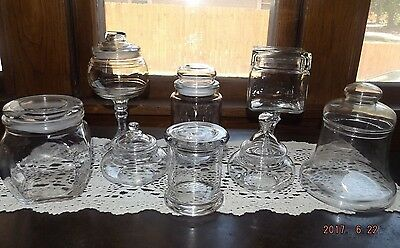 Set Of 8 Glass Apothecary Jars-Candy Buffet Wedding/Holiday/Party-Mixed Sizes