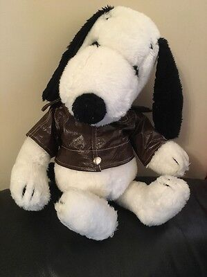 "Large 18"" Vintage Snoopy Soft Toy In Leather Jacket"