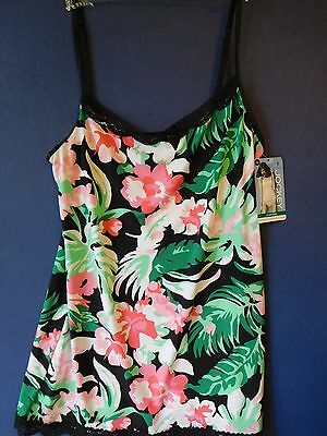 Jockey Camisole Tactel Nylon Stretch Lace Floral Tropical Blossom