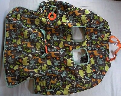 Infantino Baby Grocery Cart Seat Cover Brown Jungle Animals 2014
