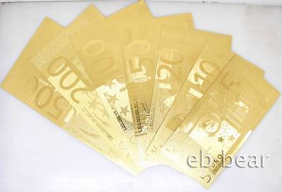 Lots 7 Euro Gold Banknote Notes Full Set Unusual Beautifully Crafts Collections