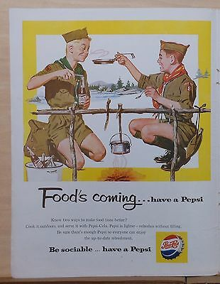 1959 magazine ad for Pepsi-Cola - Foods coming, Boy Scouts cookout, drink Pepsi