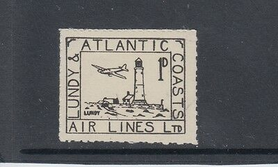 #01c Great Britain Lundy Island Puffin Stamps Black Airmail #20 Dot @ Window