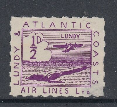 #03 Great Britain Lundy Island Puffin Stamp 1937 AIRMAIL ½p Violet Cloud FLAW