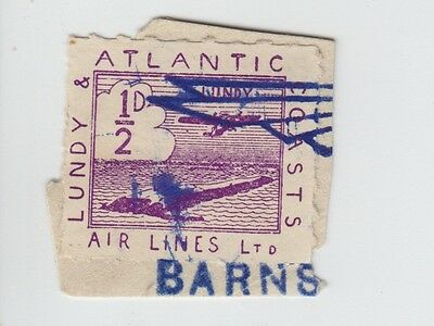 #04 Great Britain Lundy Island Puffin Stamp 1937 AIR ½p Violet