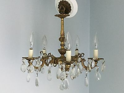 Antique 5 Arm Brass Chandelier With Crystal Prisms