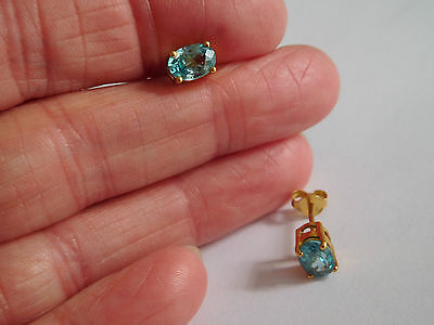 Vintage gold over sterling silver blue / green ? colour change gem earrings