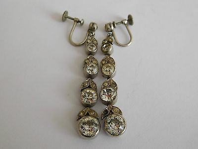 long white metal & paste Edwardian / Art Deco articulated pendant earrings clip