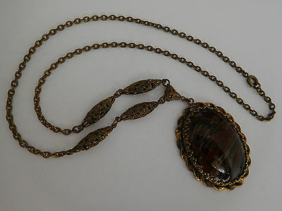 vintage Czech fancy Murano Aventine art glass filigree necklace pendant