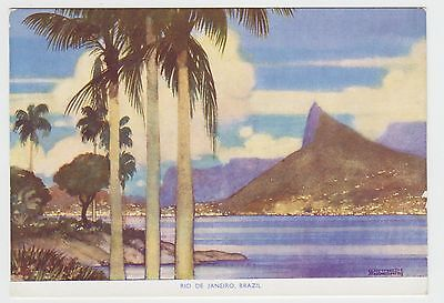 Royal Mail Lines, Kenneth Shoesmith: 1930's Art Deco PPC of Rio de Janeiro , VG
