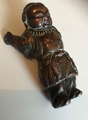 Antique Oriental Bronze Heavy Figure In Robes Chinese