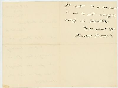 Theodore Roosevelt 1899 Autograph Letter Signed as Governor of NY - President