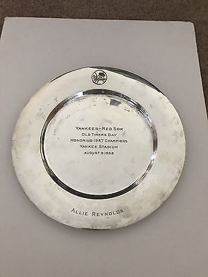 Allie Reynolds Personally Owned 1958 NY Yankees Old-Timers Sterling Silver Plate