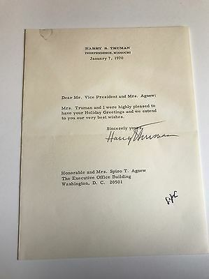Harry Truman Typed Letter Signed To Vice President Spiro Agnew - With Free Frank