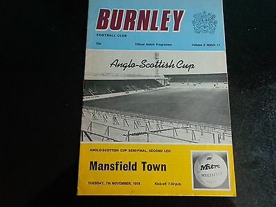 BURNLEY v MANSFIELD TOWN  Anglo scottish cup  1978