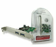 CLiPtec® 2 Port USB3 PCI Card [Superspeed USB 5Gbs, 900mA output]