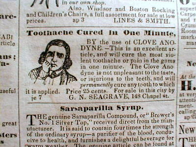 1844 New Haven CT newspaper w ILLUSTRATED TOOTHACHE CURE AD Dentist TEETH Tooth