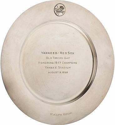 Ralph Houk Personally Owned 1958 NY Yankees Old-Timers' Sterling Silver Plate