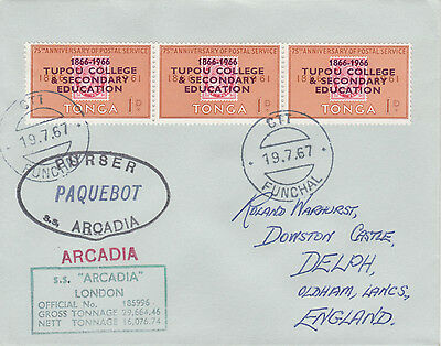 Tonga 4425 - Used in FUNCHAL, PORTUGAL 1967  PAQUEBOT cover to UK