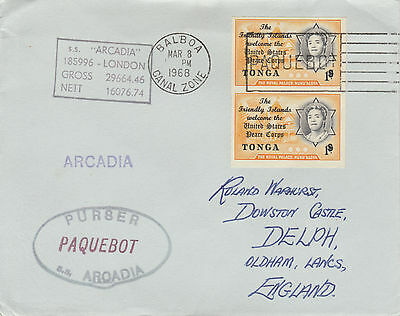 Tonga 4423 - Used in BALBOA, CANAL ZONE 1968  PAQUEBOT cover to UK