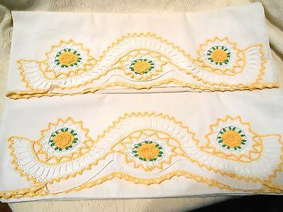 Vintage Pair of Pillowcases with Yellow Hand Crocheted Inserts & Edging-NICE!