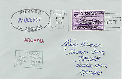 Tonga 4428 - Used in PERTH, W AUSTRALIA 1968  PAQUEBOT cover to UK